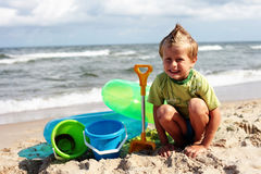 On the beach. 6 years old boy on the beach - kids stock image