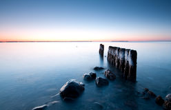 Beach. One early morning with some old wood and rocks Royalty Free Stock Photography
