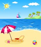Beach. Vector illustration of a colorful beach Stock Photography