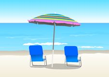 Beach. An illustration of an umbrella and 2 chairs at the beach Royalty Free Stock Photography