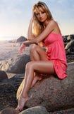 On the beach. Beautiful girl on the beach Stock Photo