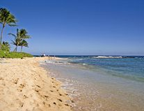 Beach. Ocean Beach, Sand, blue sky and blue ocean water Royalty Free Stock Image