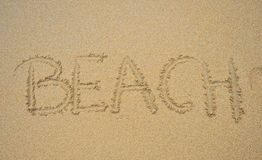 Beach. Word written in the sand beach Royalty Free Stock Images