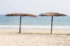 Beach. Beautiful beach scenery,blue sea ,clean sea san,sun umbrella Stock Photography