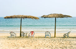 Beach 2. Beautiful beach scenery,blue sea ,clean sea san,sun umbrella and chairs Stock Image