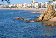 Beach. People on the beach at Lloret de Mar (Costa Brava, Catalonia, Spain Royalty Free Stock Image