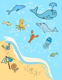 At the Beach!. A scene of marine animals at the beach. Vector / Clip Art Stock Images