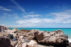 Beach. Jandia beach with large rocks in fuerteventura, spain Stock Images