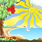 Beach. Seascape - sea, sun, sand dunes, exotic plants. Fly over the sea gulls royalty free illustration