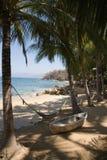 Beach. Boat and hammock at beach in Puerto Vallarta Stock Photo
