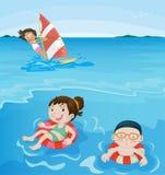 At the beach. 3 kids having fun at beach Stock Image