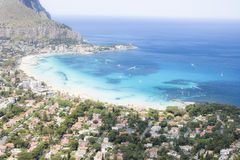 Beach. This is Mondello's beach, a very famous place in Sicily, in South of Italy Stock Photo