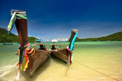 Beach. Beautiful long tail boat in phi phi island, phuket, Thailand Stock Images