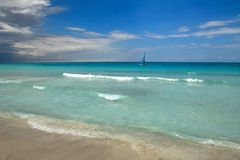 Beach. View of a tropical beach with water and sand. Varadero, Cuba Stock Photography