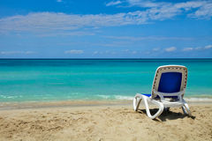 Beach. Bed on the sea, sky and sand background. Varadero, Cuba Royalty Free Stock Photo