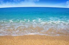 Beach. Sandy beach with beautiful blue sea and sky Royalty Free Stock Photography