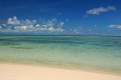 Beach. Sandy white beach with crystal clear water and blue sky Stock Photography