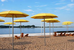 The Beach. Umbrellas and chairs line beach Royalty Free Stock Images