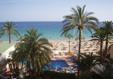 Beach. View from a hotel balcony in Mallorca, Spain stock images