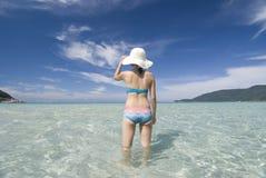 Beach. Asian with bikini on the beach stock photo