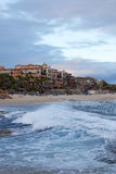 Beach. Stormy wave and hotels at the beach of Los Cabos, Baja California, Mexico, Latin America Stock Photos