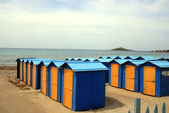 Beach. Changing cabins on a beach in Sicily Italy Stock Image