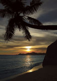 Beach. Sunset on beach, La Digue, Seychelles royalty free stock photo