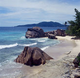Beach. La digue island, seychelles royalty free stock photos
