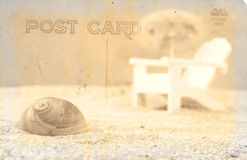Beach. Vintage Grunge Style Postcard Background With Beach royalty free stock images