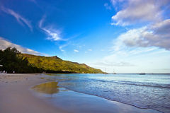 The beach. Sunrise on seychelles beach at morning Stock Images