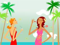 Beach. Two glamour girl on the beach Royalty Free Stock Photo