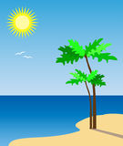 Beach. A vector illustration of a beach and sea Stock Photography