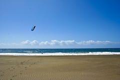 Windsurf kite Beach on Tenerife Island. Beach landscape with wind surfer stock photos