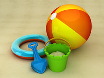 On the beach. 3d illustration of summer equipment likme bucket and spade Royalty Free Stock Photography
