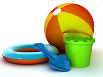 On the beach. 3d illustration of summer equipment like bucket and spade royalty free illustration