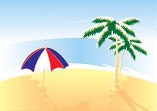 Beach. Red, white and blue umbrella, palms on the beach. Vector illustration vector illustration
