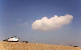 Beach. English shingle beach with fishing boat Royalty Free Stock Photo