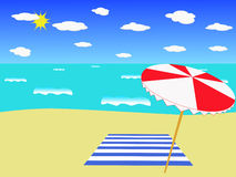 The beach. A beach scene with blue skies and blazing sun. Your space reserved Royalty Free Stock Image