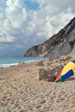 On the beach. Of Engremni,Greece Royalty Free Stock Photos