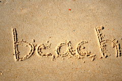 Beach. Written in the sand Stock Image