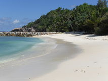 Beach. On Praslin. Island of the Seychelles Royalty Free Stock Photo