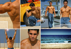 Beach. Fitness themed collage, illustrating fitness, fun, and health at the beach Royalty Free Stock Images