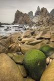 Beach. Slow shutterspeed shore coast landscape from adraga beach near sintra, portugal Stock Photo