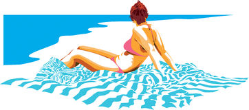 The beach. Digital illustration of young lady taking a little sun at the beach Stock Illustration
