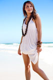 On the beach. An attractive young woman on the beach Stock Photos