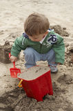 Beach. Building sand castles on the Beach Stock Images