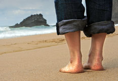 On the beach. In Portugal royalty free stock photo