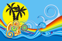 Beach. Swirling wave design with palm trees Royalty Free Stock Image
