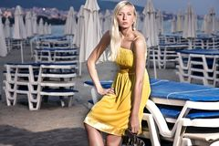 Beach. Young attractive blond beauty on beach stock photos