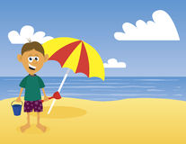 At The Beach. Illustration of a boy at the beach Royalty Free Stock Photos